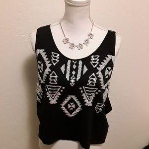 EUC PINK VS Aztec sequins no sleeves crop top